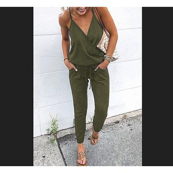 Explosive section cross V-neck lace sexy suspender jumpsuit military green
