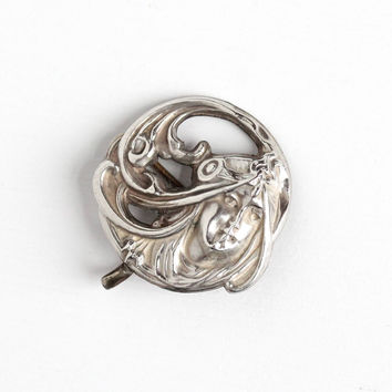 Antique Sterling Silver Front Art Nouveau Repoussé Woman Watch Pin - 1910s Edwardian Headband Flowing Hair Lady Brooch Belle Époque Jewelry