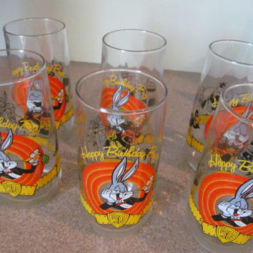 Bug Bunny glass tumblers Warner Bros 50th Anniversary set of 6