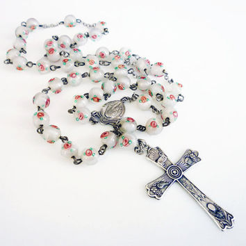 Chapel Sterling Rosary, Silver Cross, Mother Mary, Pink Rose, Milk Glass Beads, Religious Jewelry, Vintage Necklace