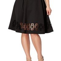 Plus Perforated Flared Skirt