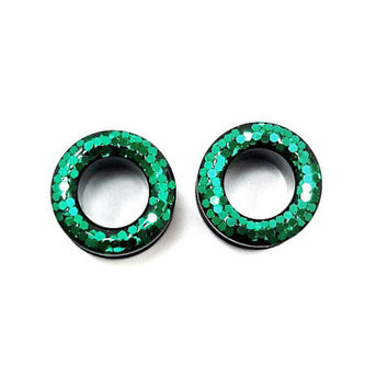 Emerald green glitter plugs / 6g, 4g, 2g, 0g, 00g, 1/2, 9/16, 5/8  / sparkle plugs / acrylic tunnel gauges / screw on / tunnel plugs