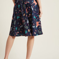 Marvelous Midi Skirt with Pockets in Forest Critters