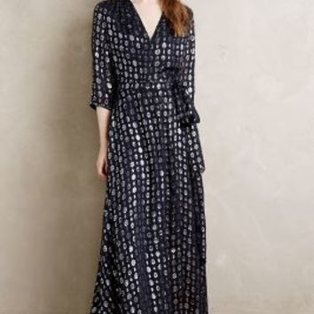 Maison Scotch Shimmered Silk Maxi Dress in Navy Size: