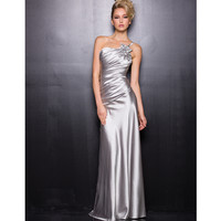 2014 Prom Dresses - Silver Poly Satin One Shoulder Prom Dress