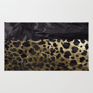 Gold and Black Cheetah Metal Texture  Area & Throw Rug by OCDesigns