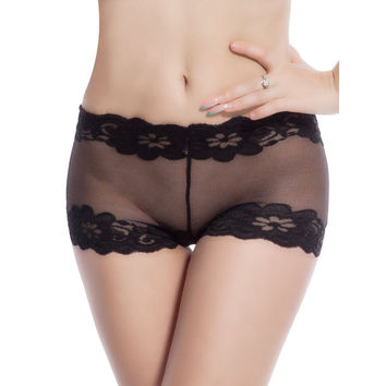 DY29 Free Shipping top selling Sexy Lingerie Sexy Lace Underwear Ladies Boyshort Women Sexy Panties Color solid Plus Size Panty