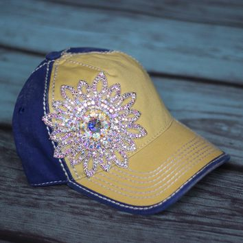 Blinging Trucker Hat in Yellow & Blue - Olive & Pique