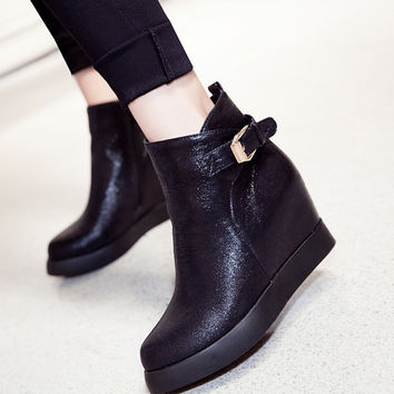 2016 Big Size 34-43 autumn Boots Fashion Women Boots wedges Heels pointed Toe Platform Winter black gold silver boots