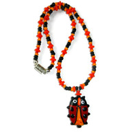 Orange, Red, Black Beaded Little Girls Beaded Ladybug Pendant Necklace, Magnetic Clasp