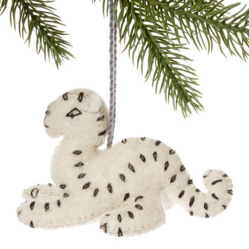 Snow Leopard Fair Trade Felt Tree Ornament