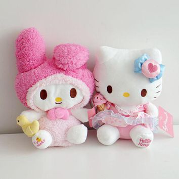 Cute Cartoon My Melody Grips Yellow Duck Hello Kitty Apron Plush Toy Cats Soft Stuffed Animal Dolls For Kids Children Girls Gift