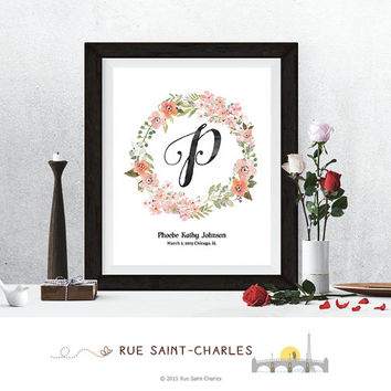 baby nursery art floral monogram logo personalized baby gift baby name initial art print DIY printable art home decor nursery decor wall art