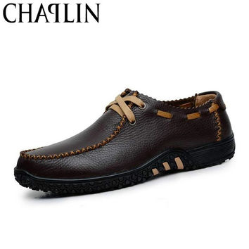 Handmade Genuine Leather Flats Men's Slip On Moccasins Boat Shoes High Quality Loafers Brand New Driving Shoes 1211