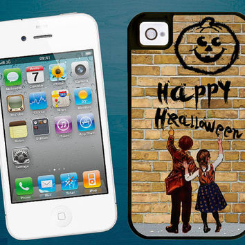 Happy Halloween iPhone 4/4S 5 tough case - Personalized iPhone 4/5 hard case - Personalised 2 piece rubber lining case holiday season