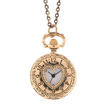 Antique Gold Cut Out Heart Pocket Watch Locket Pendant Necklace