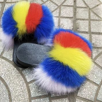 Marie fox fur slides