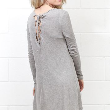 Lace Up Back L/S Ribbed Dress {H. Grey}