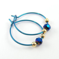 Small Turquoise Hoop Earrings - Hypoallergenic Niobium Jewelry