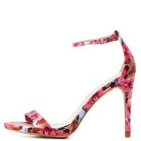 Fuchsia Qupid Floral Single Strap Heels by Qupid at Charlotte Russe