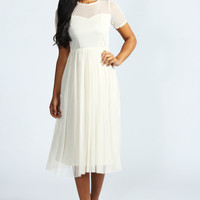 Richa Pretty Mesh Sweetheart Neck Midi Dress
