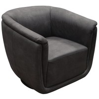 Logan Swivel Accent Chair in Anthracite Fabric