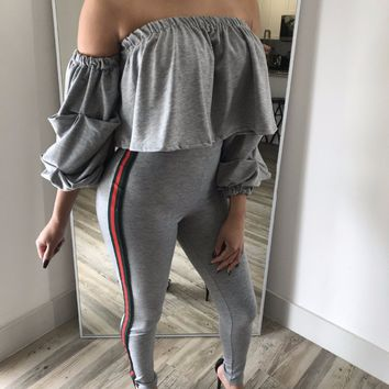 Red Green Stripe Two Piece Set Women Tracksuit 2017 Ruffle Off Shoulder Crop Top + Jogger Pants Suits Casual 2-Piece Outfits