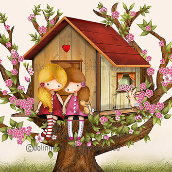 Sisters art print, girls holding hands wall art, tree house art, kids art