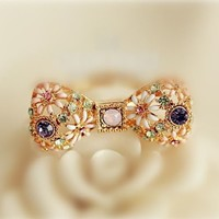 Bow Flower And Rhinestone Ring (Adjustable Band)