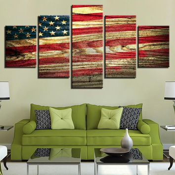 5 Pieces Vintage Wood Looking US American Flag Wall Art Print For Living Room