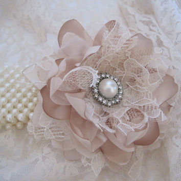Champagne Romantic Rose Pearl Wrist Corsage Bracelet Bride Bridesmaid Mother of the Bride Prom with Pearl Rhinestone Accents. CUSTOM ORDER