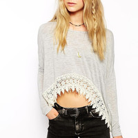 Gray Crochet Cropped Top