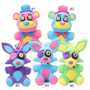 5pcs 25cm Blacklight  at  Plush Toys Neon Foxy Cupcake Freddy Fazbear  Toy Soft Stuffed Animal Dolls
