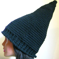 Black Gnome Hat Adult Costume Pointed Crochet Witch Beanie Vegan