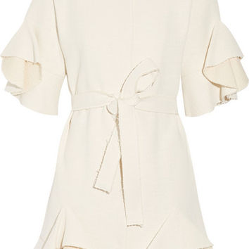 Goen J - Ruffled cotton-blend coat