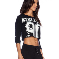 Black Athletic 90 Print Long Sleeve Cropped Top