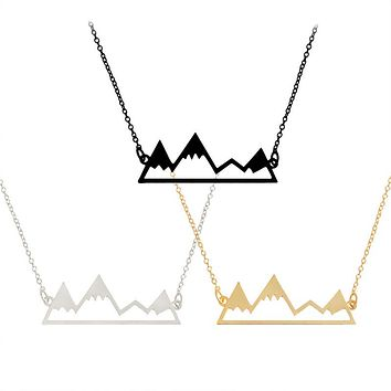 Snowy Mountain Pendant Necklace For Women