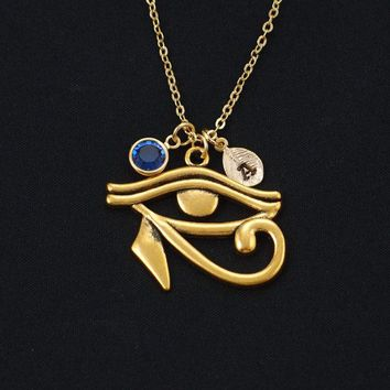 Eye of Horus necklace, gold filled, initial necklace, birthstone necklace