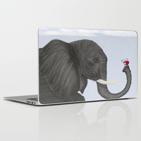 Bertha The Elephant And Her Visitor Laptop & iPad Skin by One Artsy Momma