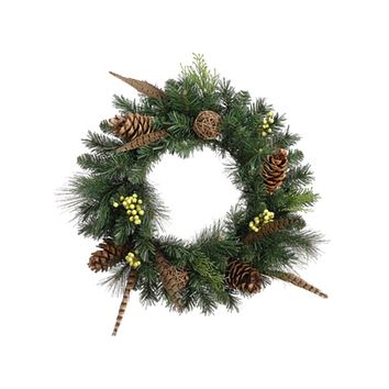 "20"" Pheasant Feather Artificial Christmas Wreath with Pine Cones - Unlit"