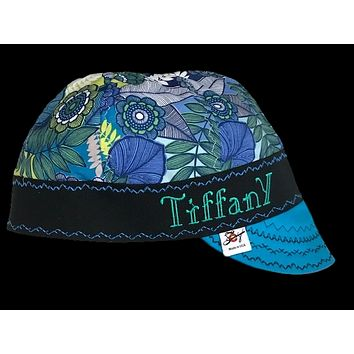 Create your own Custom Blue Floral Embroidered Hybrid Welding Cap