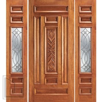 Prehung Mahogany 1 Lite House Two Sidelights Door