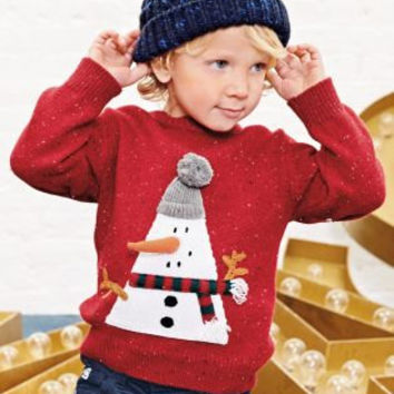KIDS CHRISTMAS GIFT Baby gift Toddler gift Red Xmas Snowman Sweater (3mths-6yrs)