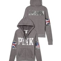 Victoria's Secret Pink Bling Sequin Fashion Show London USA Flag Limited Edition Hoodie Jacket Size XS