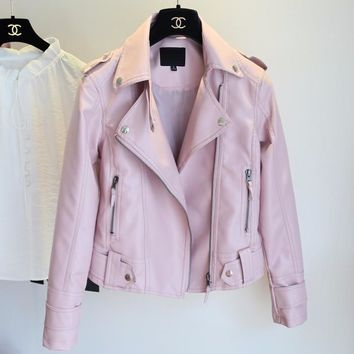 New Design Spring Autumn PU Leather Jacket Faux Soft Leather Coat Slim Black Rivet Zipper Motorcycle Pink Jackets