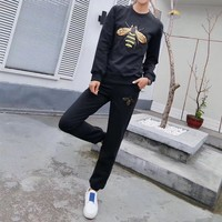 """Gucci"" Women Casual Bee Embroidery Long Sleeve Sweater Trousers Set Two-Piece Sportswear"