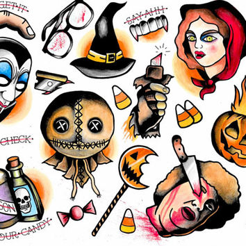 Trick 'R Treat tattoo flash print