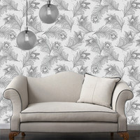 Temporary Wallpaper - Feather - Metallic Silver Frost