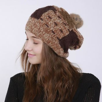 Winter Leisure Warm Ball Top Hat Lady Cap Fashion  Do The Old Without Brim Hat Blended Knitted Female Women Pompon Hat