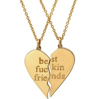 Best Fuckin Friends (2 Piece) Heart Necklaces